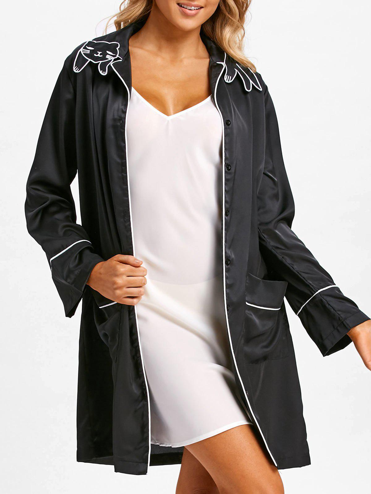Cat Collar Long Sleeve Sleeping Robe - BLACK XL