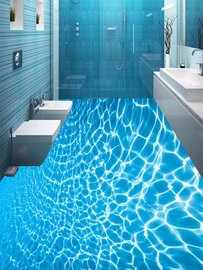 Removable Crystal Clear Sea Water Print Floor Decals - BLUE 5PCS:16*39 INCH