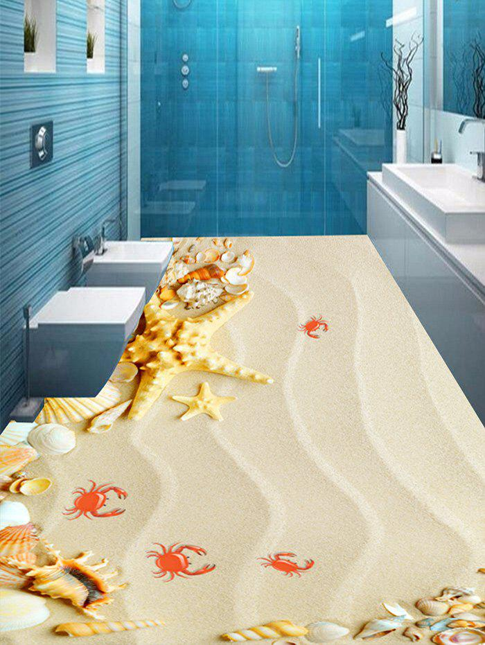 Starfish Conch Crab Sand Print Removable Floor Decals - LIGHT BROWN 5PCS:16*39 INCH