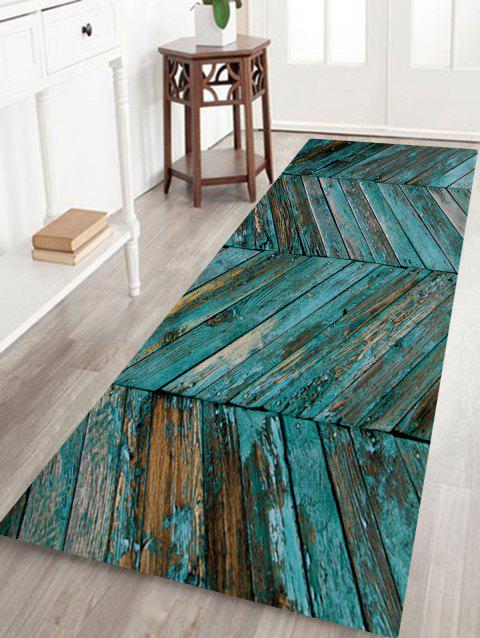 Retro Wood Grain Pattern Water Absorption Area Rug - LAKE BLUE W24 INCH * L71 INCH