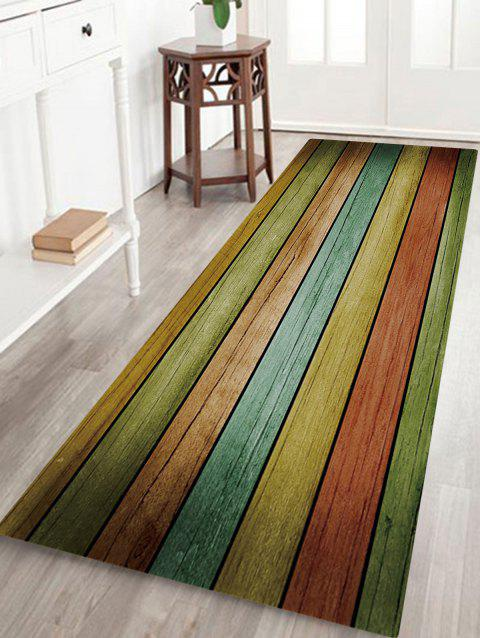 Rainbow Stripe Wood Print Anti-skid Water Absorption Area Rug - COLORFUL W24 INCH * L71 INCH