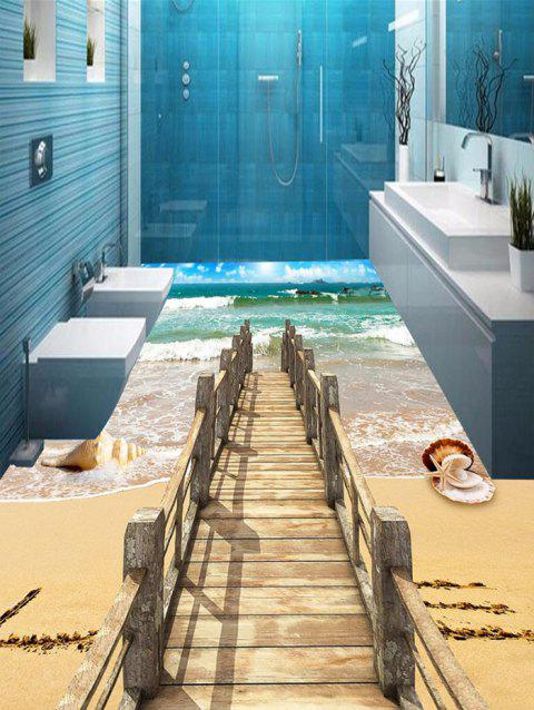 3D Beach Ocean Bridge Print Floor Stickers - COLORMIX 5PCS:17*59 INCH