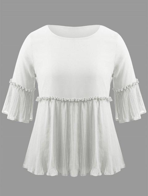 Plus Size Bell Sleeve Pleated Blouse - WHITE 5XL