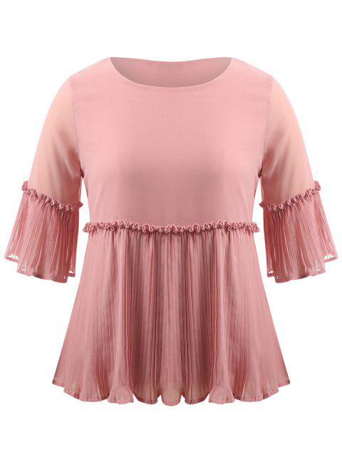 Plus Size Bell Sleeve Pleated Blouse - PINK 3XL