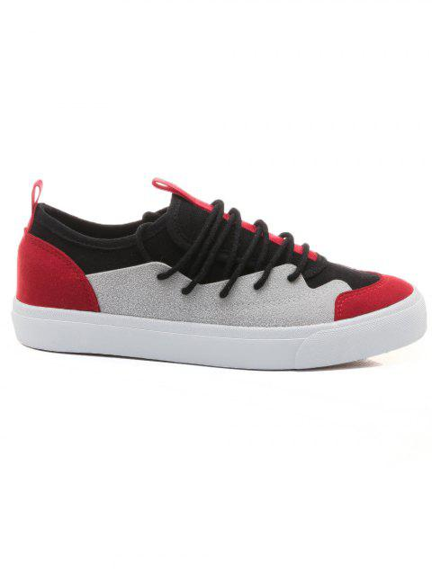 Color Block Low Heel Skate Shoes - RED 37