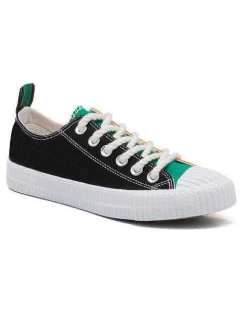 Patchwork Low Heel Sneakers - BLACK / GREEN 38