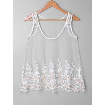 Scalloped Mesh Tank Top Set - WHITE XL