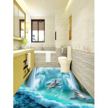 3D Sea Dolphins Playing Print Floor Stickers - LAKE BLUE 5PCS:17*59 INCH