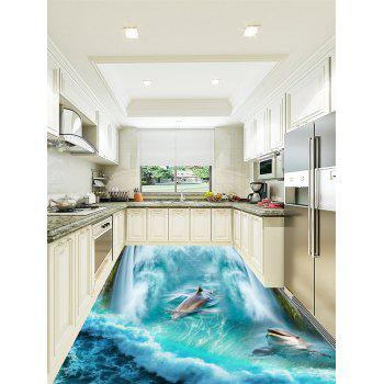 3D Sea Dolphins Playing Print Floor Stickers - LAKE BLUE 6PCS:17*63 INCH