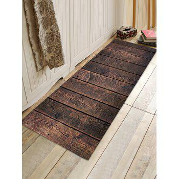 Wood Lath Pattern Anti-skid Water Absorption Area Rug - DEEP BROWN W24 INCH * L71 INCH
