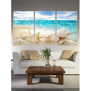 Beach Starfish Print Unframed Canvas Paintings - LIGHT BLUE 3PC:16*24INCH(NO FRAME)