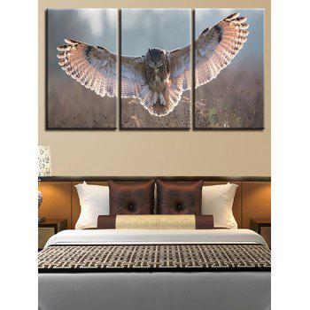 Flying Owl Print Unframed Canvas Paintings - COLORMIX 3PC:12*18 INCH( NO FRAME )