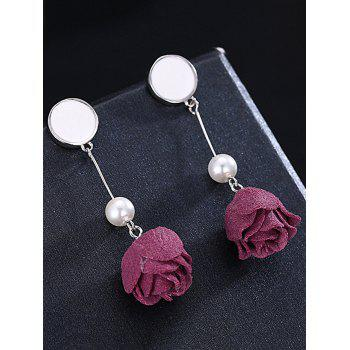 Vintage Artificial Pearl Floral Sterling Silver Earrings - SILVER/RED