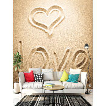 Beach Letter Love Heart Shape Pattern Floor Decals - CAMEL 6PCS:17*63 INCH