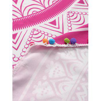 Pom Floral Printed Beach Throw - ROSE RED ONE SIZE