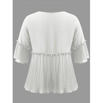 Plus Size Bell Sleeve Pleated Blouse - WHITE 4XL