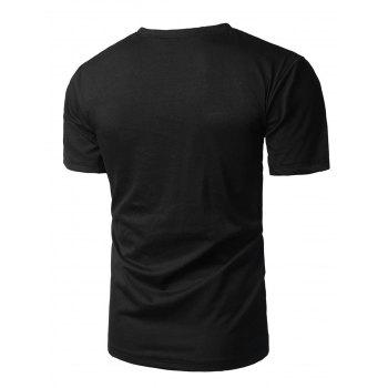 Crew Neck Graphic Print T-shirt - BLACK L