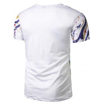 Tiger Spatter Paint Short Sleeve Tee - WHITE 2XL