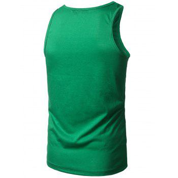 Cotton Blends Graphic Print Tank Top - GREEN XL