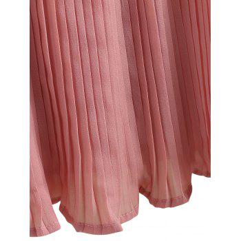 Plus Size Bell Sleeve Pleated Blouse - PINK 5XL