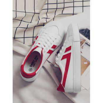 Casual Contrasting Color Skate Shoes - RED 35