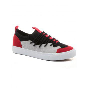 Color Block Low Heel Skate Shoes - RED 39