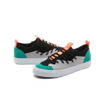 Color Block Low Heel Skate Shoes - GREEN 37