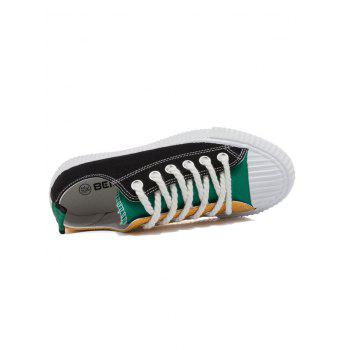 Patchwork Low Heel Sneakers - BLACK / GREEN 39