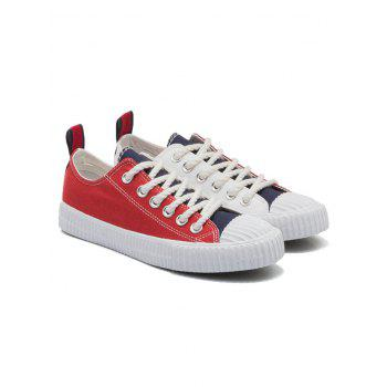 Patchwork Low Heel Sneakers - BLUE / RED 39