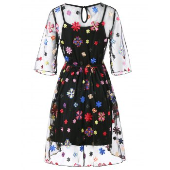 See Thru Embroidery Floral Dress and Cami Dress - BLACK L