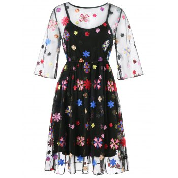 See Thru Embroidery Floral Dress and Cami Dress - BLACK XL