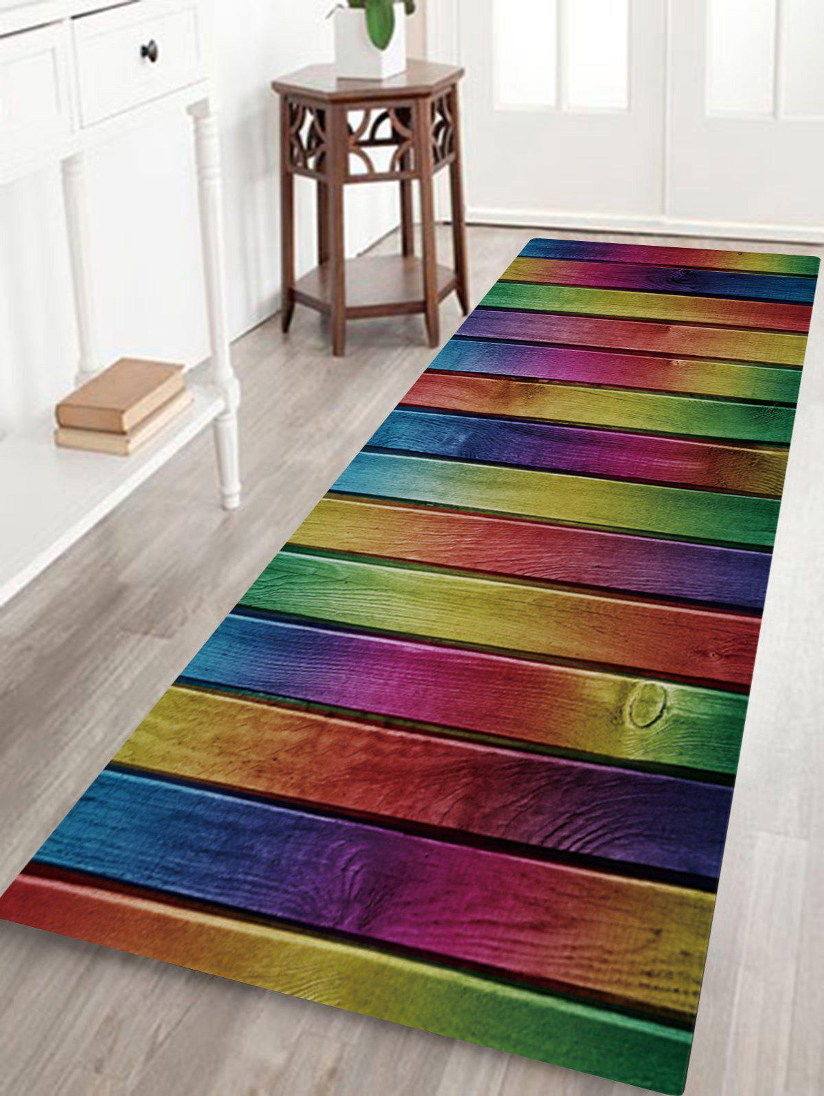 Wood Colorful Plank Print Non-skip Indoor Outdoor Area Rug