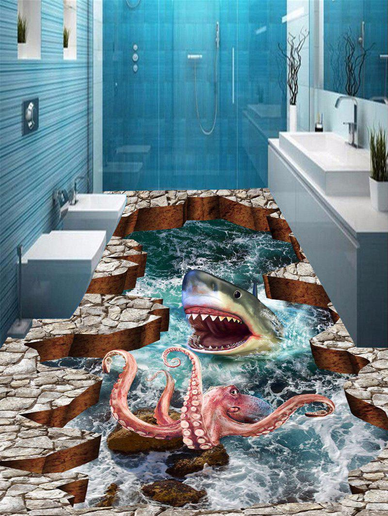 3D Sea Shark Octopus Print Antislip Floor Stickers - COLORMIX 5PCS:16*39 INCH