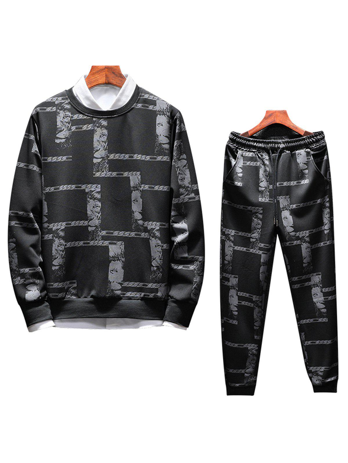 Animal Print Sweatshirt Tracksuit - BLACK 3XL