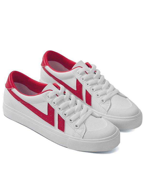 Casual Contrasting Color Skate Shoes - RED 36