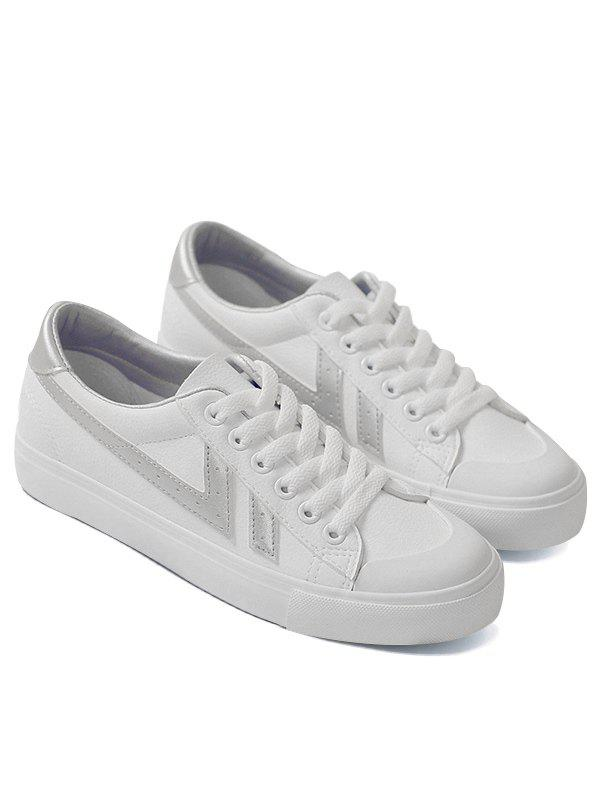 Casual Contrasting Color Skate Shoes - SILVER 36