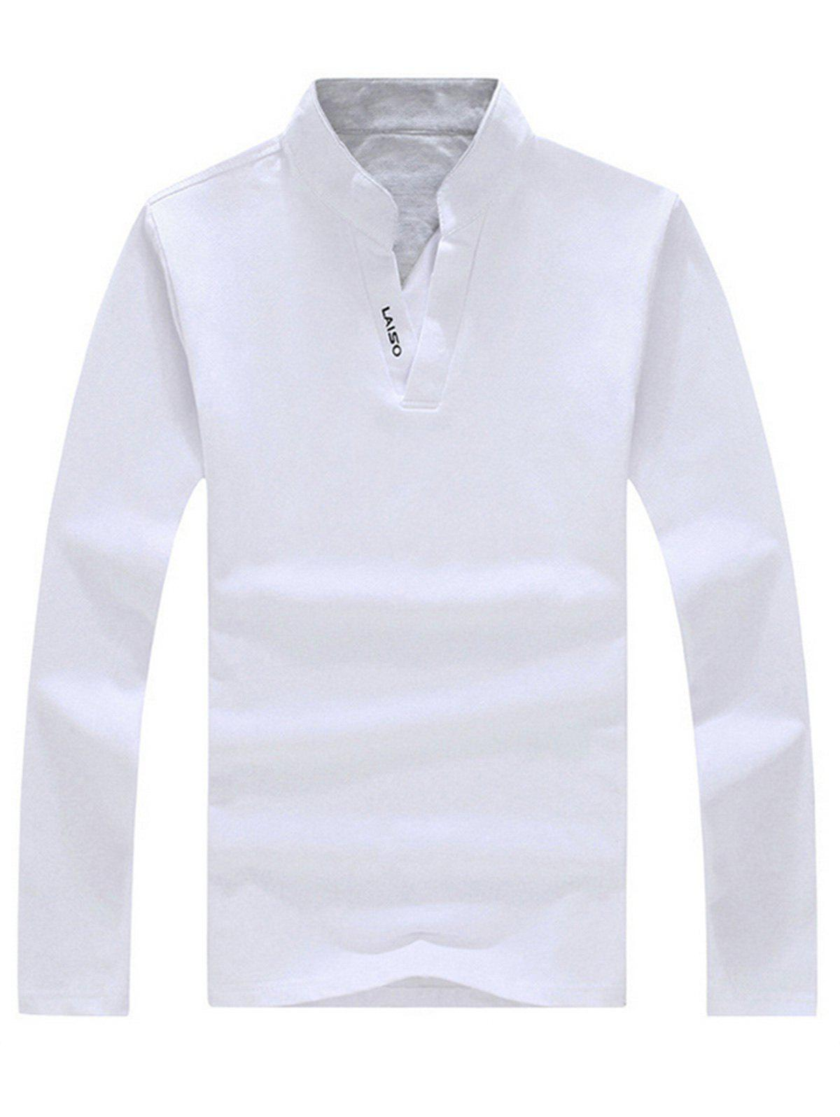 Stand Collar Printed T-shirt - WHITE 3XL