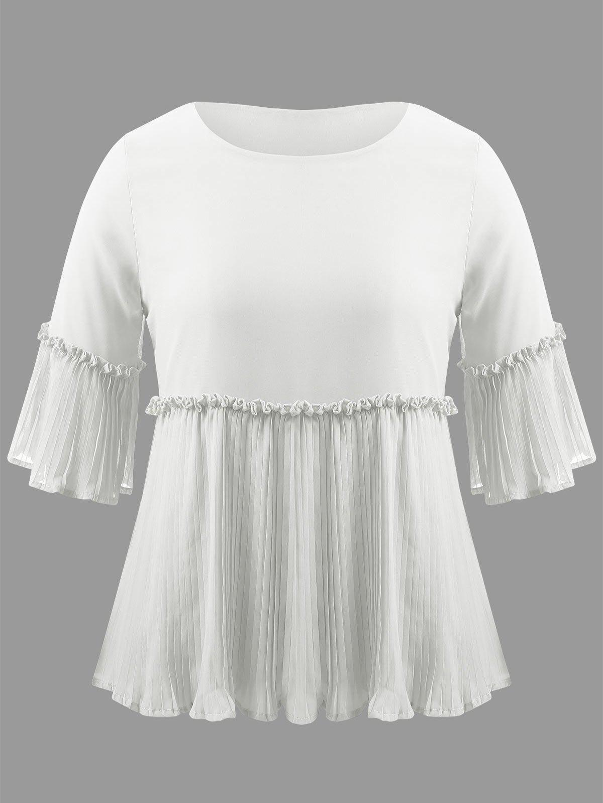 Plus Size Bell Sleeve Pleated Blouse - WHITE 3XL