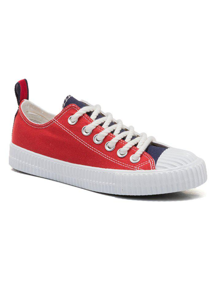 Patchwork Low Heel Sneakers - BLUE / RED 40