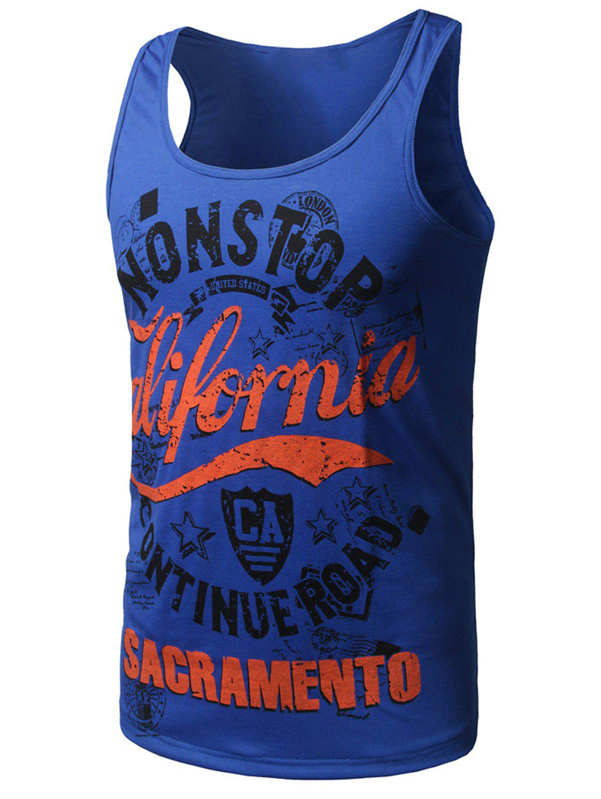Cotton Blends Graphic Print Tank Top - BLUE XL