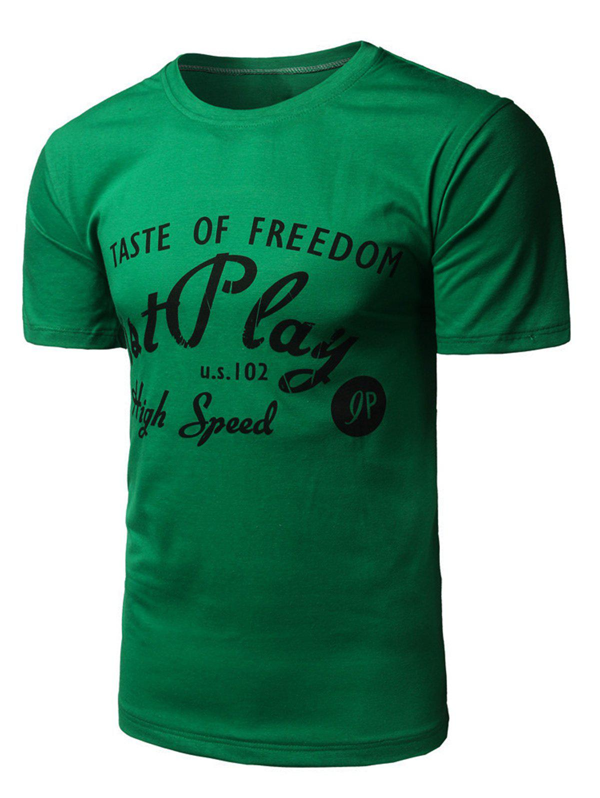 Crew Neck Graphic Print T-shirt - GREEN L