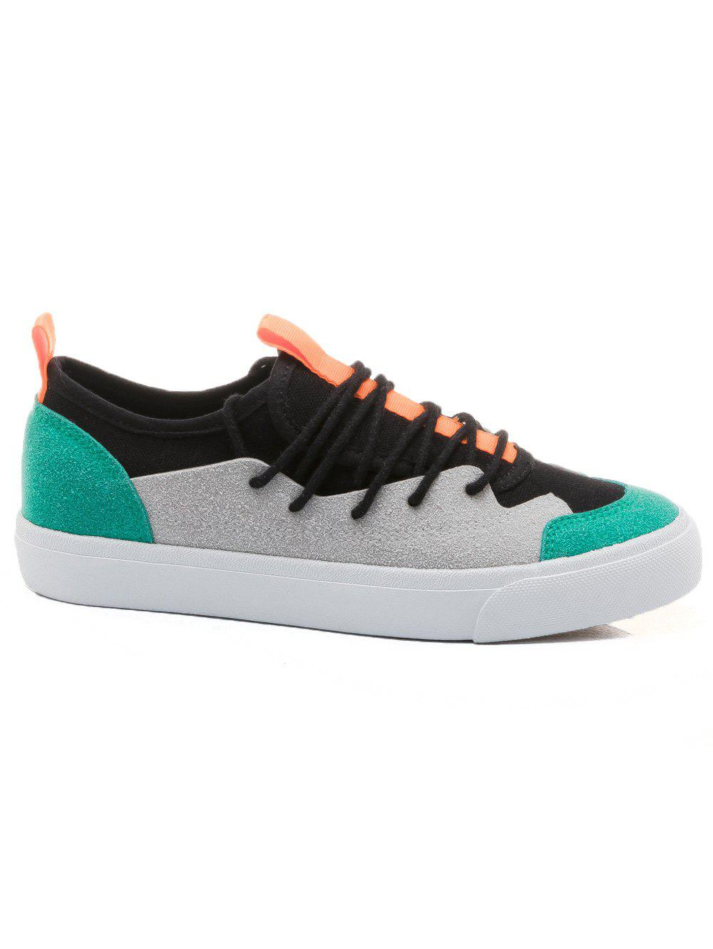 Color Block Low Heel Skate Shoes - GREEN 36