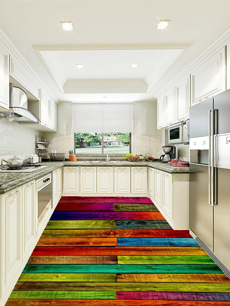 Colorized Plank Pattern Home Decor Art Floor Stickers - COLORFUL 6PCS:17*63 INCH