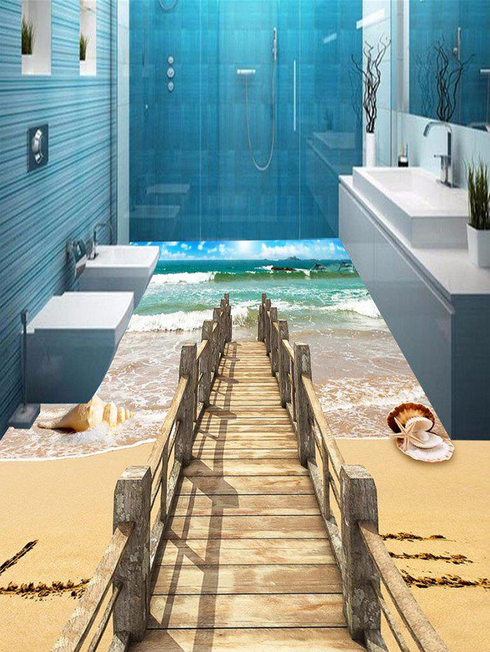 3D Beach Ocean Bridge Print Floor Stickers - COLORMIX 6PCS:17*63 INCH