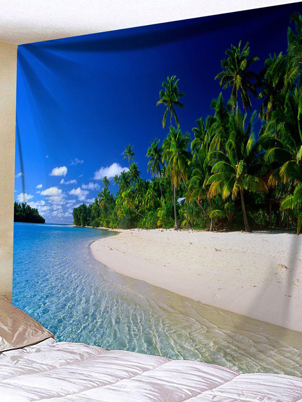 Tropical Trees Beach Sky Landscape Print Tapestry - BLUE W91 INCH * L71 INCH