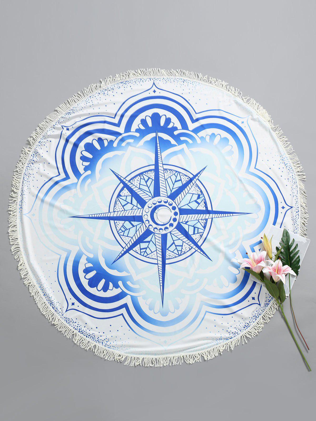 Round Flower Print Beach Throw flower print round coaster