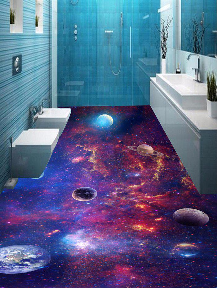 Night Starry Sky Print Removable Floor Decals - PURPLE 5PCS:17*59 INCH