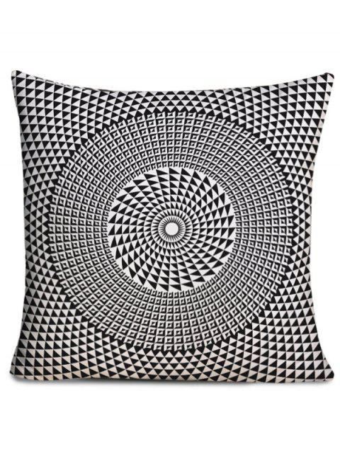 Layered Circle Printed Throw Pillow Case - BLACK WHITE W18 INCH * L18 INCH
