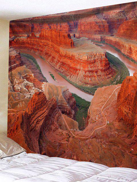 Wall Hanging Art Dead Horse Point Print Tapestry - BRICK RED W79 INCH * L71 INCH