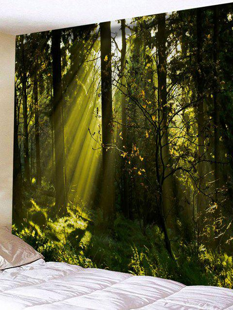 Wall Hanging Art Sunlight Forest Print Tapestry - GREEN W91 INCH * L71 INCH